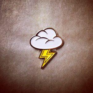 Cloud & Thunderbolt Emoji Pin