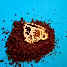 Coffee Skull Soft Enamel Pin