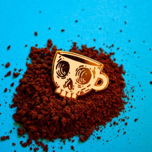 Coffee Skull Soft Enamel Pin