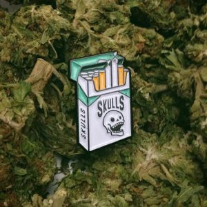 Skull Cigarette Enamel Pin