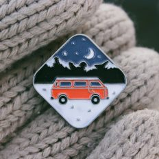 Van on the Road to Mountains Enamel Pin