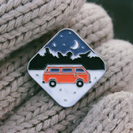 Van on the Road to Mountains Enamel Pin