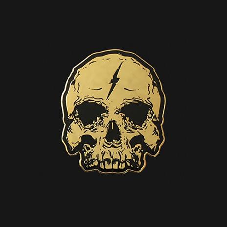 Gold Lightning Skull Enamel Pin