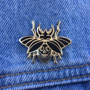 Black and Gold Skull Beetle Enamel Pin