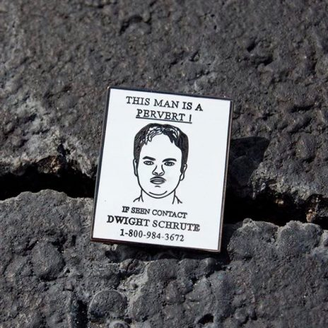 Dwight Schrute Wanted Poster Enamel Pin