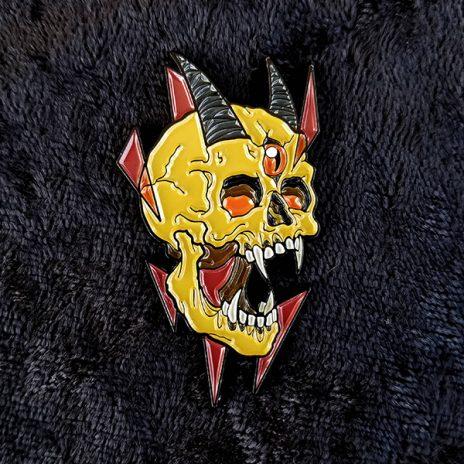 Three Eyed Demon Skull Enamel Pin