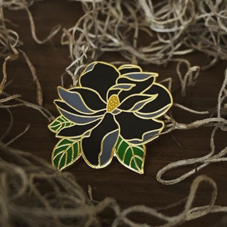 Black Magnolia Enamel Pin