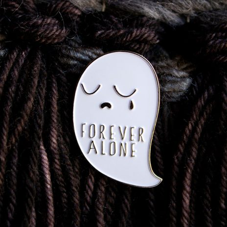 Forever Alone Ghost Enamel Pin