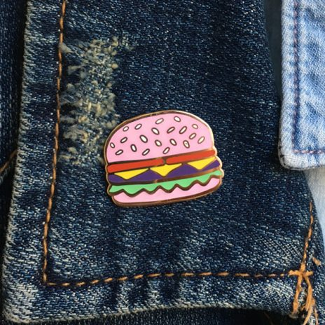 Pink Burger Enamel Pin