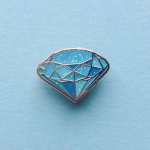 Blue Glitter Gemstone Enamel PIn
