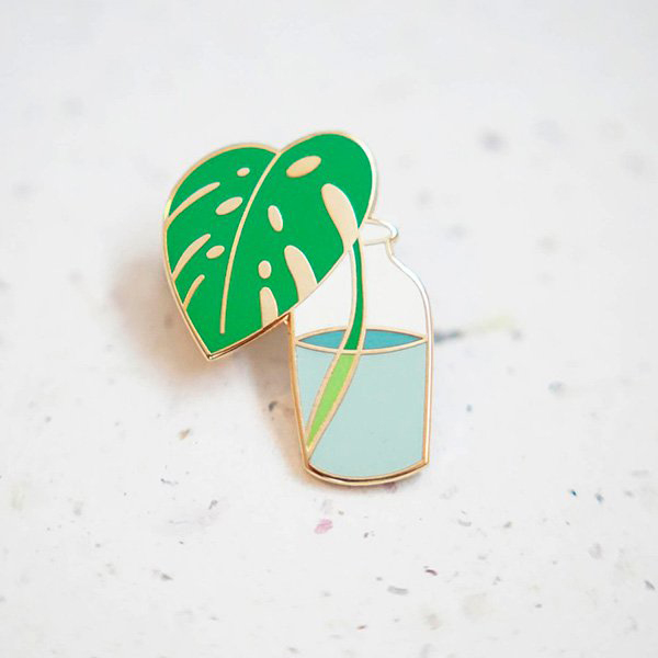 Bottled Monstera Enamel Pin