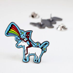 Deadpool Riding A Unicorn Enamel Pin