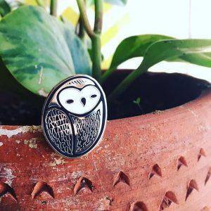 Ghostly Barn Owl Enamel Pin