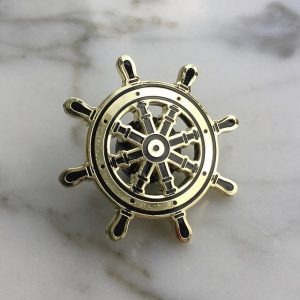 Gold Ship Helm Enamel Pin