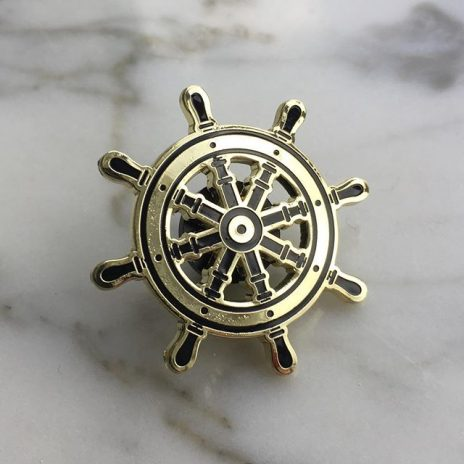 Gold Ship Helm Enamel Pin