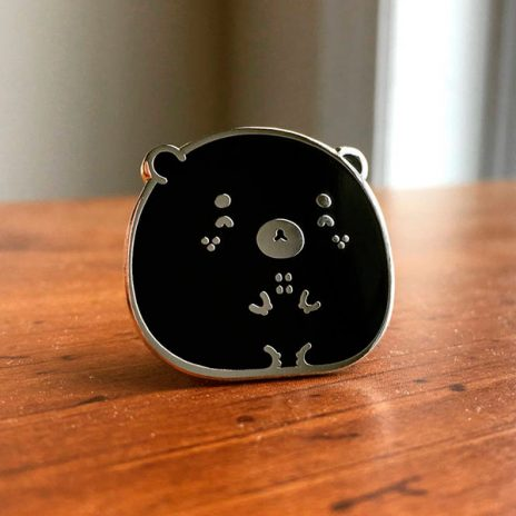 Happy Black Bear Enamel Pin