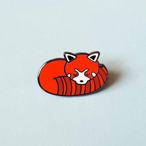 Sleepy Red Panda Lapel Pin