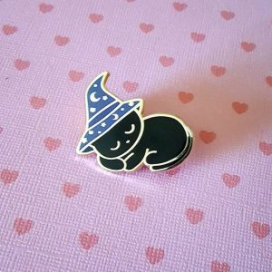 Sleepy Witch Kitty Enamel Pin