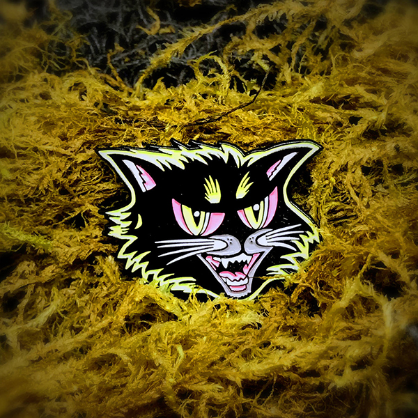 Black Cat Halloween Enamel Pin