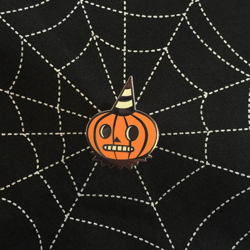 Folk Art Inspired Pumpkin Enamel Pin