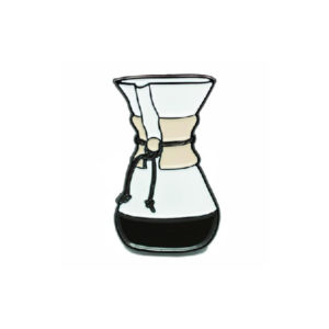 Glass Coffee Maker Enamel Pin