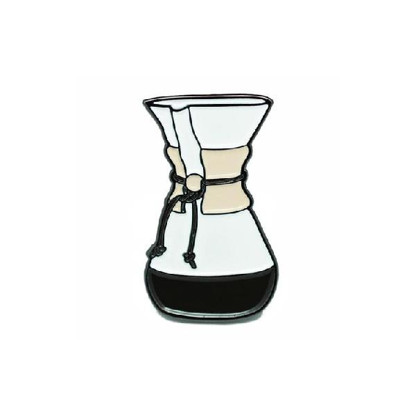 Glass Coffee Maker Enamel Pin