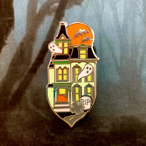 Haunted House Enamel Pin