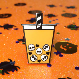 Skull Boba Tea Enamel Pin