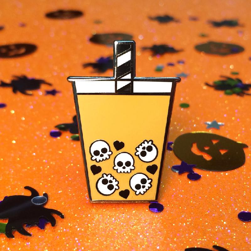 Skull Boba Tea Enamel Pin