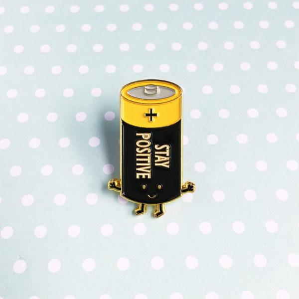 Battery (Stay Positive) Enamel Pin