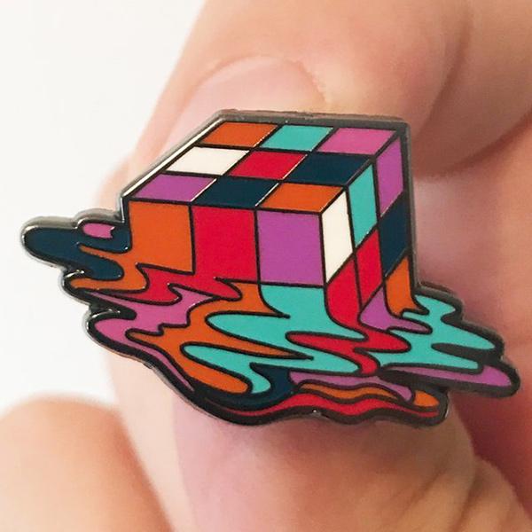 Melting Cube Enamel Pin