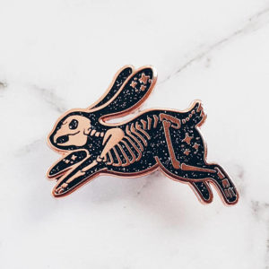 Skeleton Rabbit Enamel Pin