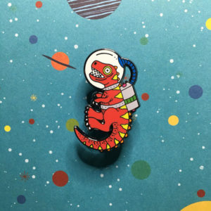 Space Dino Enamel Pin