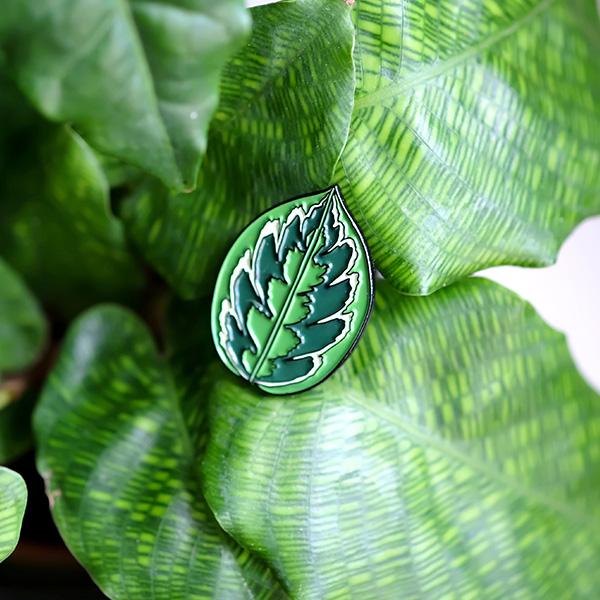 Calathea Plant Leaf Enamel Pin