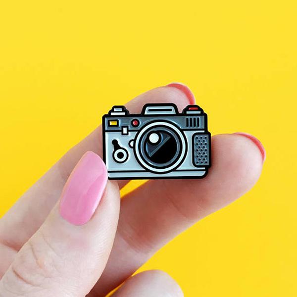 Camera Grey Enamel Pin