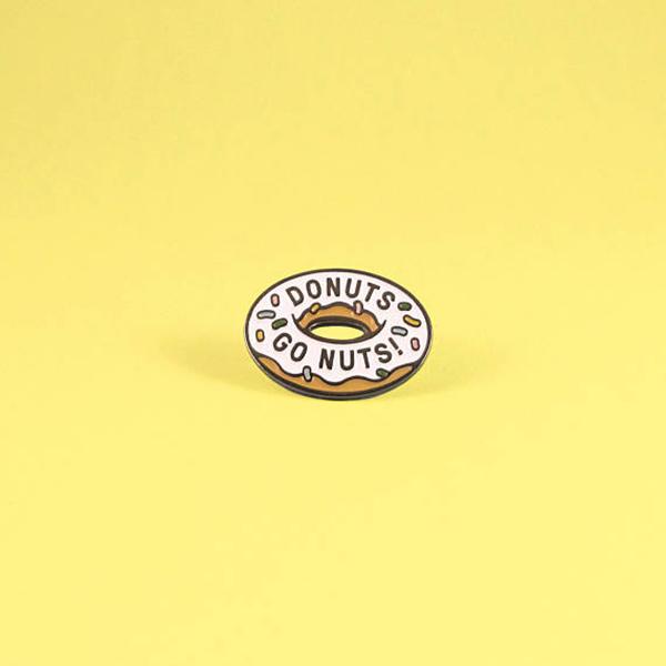 Donuts Go Nuts Enamel Pin