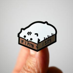 I Sits Cat Enamel Pin
