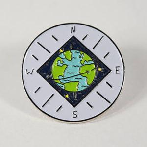 World Compass Enamel Pin