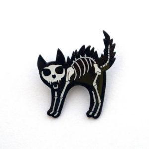 Skeleton Cat Enamel Pin