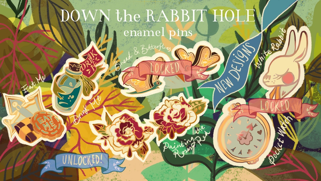 Down the Rabbit Hole Wonderland Inspired Enamel Pins