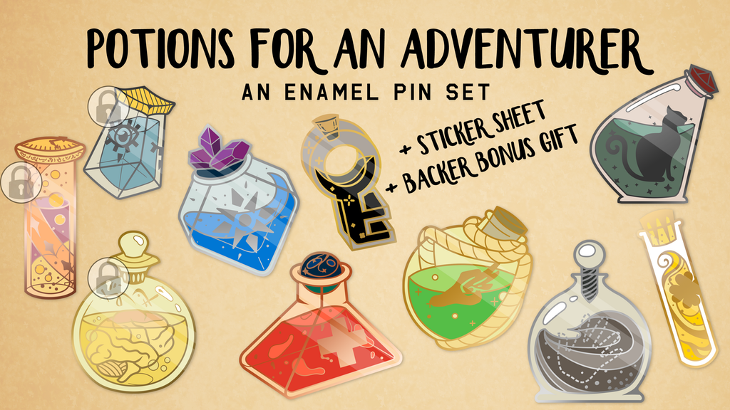 Potions for an Adventurer Enamel Pin Set