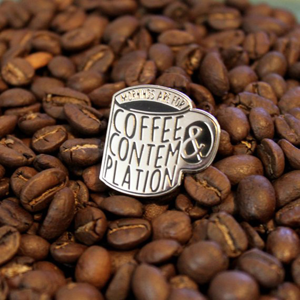 Coffee and Contemplation Enamel Pin