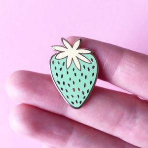 Green Strawberry Enamel Pin