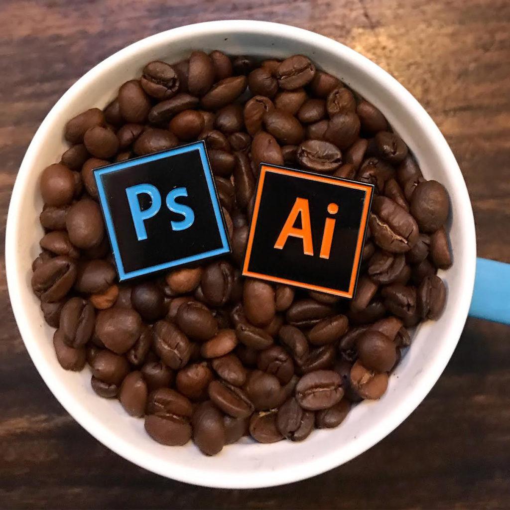 Adobe Photoshop and Illustrator Enamel Pins